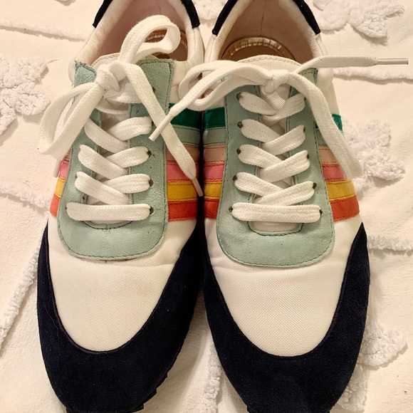 Boden Striped Rainbow Sneakers
